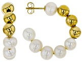 6-6.5mm White Freshwater Pearl 18k Yellow Gold Over Sterling Silver Hoop Earrings