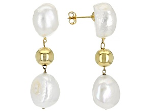 12-12.5mm White Cultured Baroque Freshwater Pearls 18k Yellow Gold Over Silver Drop Earrings