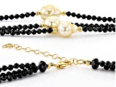 9-10mm Golden South Sea and Black Spinel 18k Yellow Gold over Sterling Silver 18 inch Necklace
