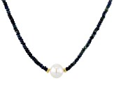 12-12.5mm White Cultured Freshwater Pearl and  Blue Ombre Sapphire 18 inch Necklace