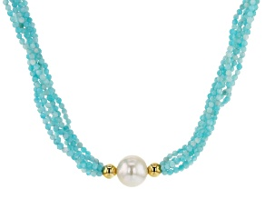 12-12.5mm White Freshwater Pearl and Blue Amazonite Multi-Strand Twisted 18 inch Necklace
