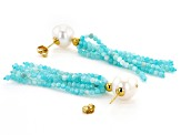 10.5-11m White Freshwater Pearl & 16ctw Blue Amazonite 18k Yellow Gold Over Silver Tassel Earrings