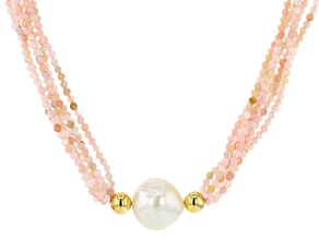 12-12.5mm White Freshwater Pearl and Pink Opal Multi-Strand Twisted 18 inch Necklace