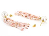 10.5-11mm White Freshwater Pearl and Pink Opal Tassel Dangle Earrings