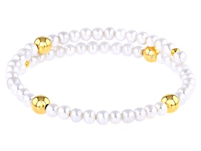 4-4.5mm White Freshwater Pearl 18k Yellow Gold Over Sterling Silver Wrap Bracelet