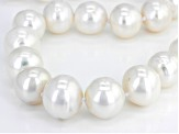 12-14mm White Cultured Freshwater Pearl Rhodium over Silver 18 inch plus 2 inch Extender Necklace