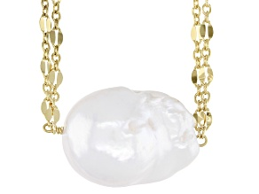 White Baroque Cultured Freshwater Pearl 18k Yellow Gold Over Silver 18 inch Necklace 15-16mm