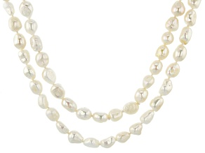 8.5-9mm White Cultured Baroque Freshwater Pearl Endless Strand 80 inch Necklace