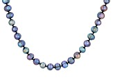 7.5-8.5mm Round Cultured Black Freshwater Pearl Endless Strand 80 inch Necklace