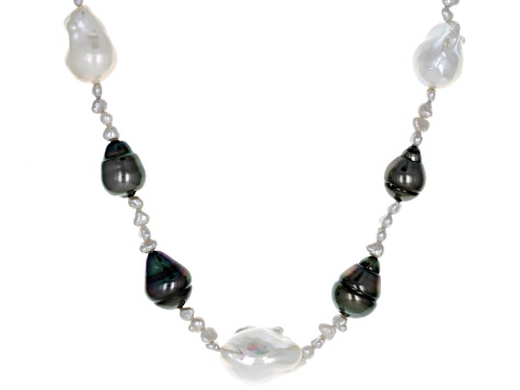 6cdc29655ebc0 3-15mm Cultured Tahitian and Freshwater Pearl Rhodium over Sterling Silver  18 inch Necklace