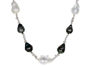 3-15mm Cultured Tahitian and Freshwater Pearl Rhodium over Sterling Silver 18 inch Necklace
