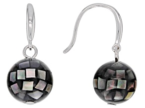 Rhodium Over Sterling Silver 10mm Black Mother of Pearl Dangle Earrings