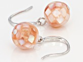Rhodium Over Sterling Silver 10mm Pink Mother of Pearl Dangle Earrings