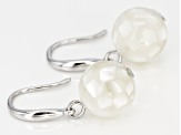 Rhodium Over Sterling Silver 10mm White Mother of Pearl Dangle Earrings