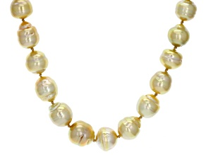 10-12mm Golden Cultured South Sea Pearl Rhodium over Sterling Silver 18 inch Strand Necklace