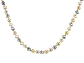 6.5-7mm Multi-Color Cultured Japanese Akoya Pearl 14k Yellow Gold 18 inch Strand Necklace