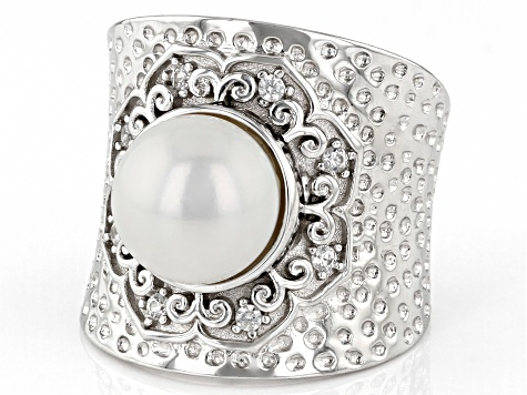 9.5-10mm Cultured Freshwater Pearl with 0.02ctw Zircon Rhodium Over Sterling Silver Hammered Ring