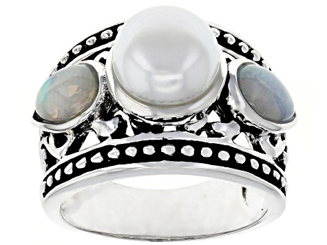 8.5-9mm White Cultured Freshwater Pearl and .86ctw Opal Rhodium Over Sterling Silver Ring