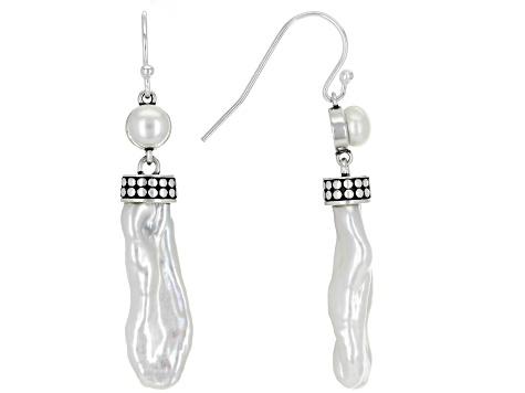 5.5-6mm and free form White Cultured Freshwater Pearl Rhodium over Sterling Silver Dangle Earring