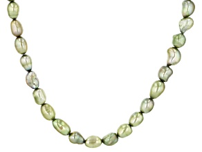 7-8mm Enhanced Green Cultured Freshwater Pearl Baroque Endless 64 inch Strand