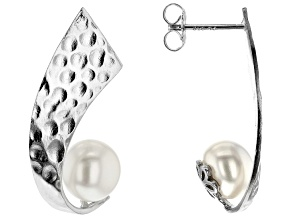 8-9mm White Cultured Freshwater Pearl Rhodium Over Sterling Silver Hammered Earrings