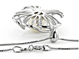 10-11mm White Cultured Freshwater Pearl Rhodium Over Silver Floral Pendant with 18 inch Box Chain