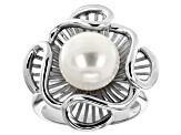 10-11mm White Cultured Freshwater Pearl Rhodium Over Sterling Silver Floral Ring
