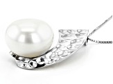 14-15mm White Cultured Freshwater Pearl Rhodium Over Sterling Silver Pendant With 18 inch Box Chain