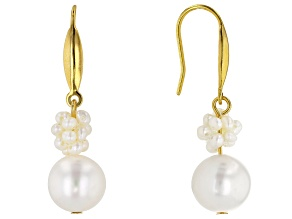 2-11mm White Cultured Freshwater Pearl 18k Yellow Gold Over Sterling Silver Cluster Dangle Earrings