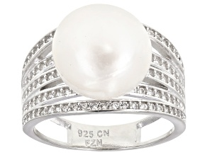 White Cultured Freshwater Pearl & Cubic Zirconia Rhodium Over Silver Ring 11.5mm