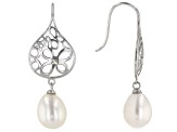 8mm White Cultured Freshwater Pearl Rhodium Over Sterling Silver Filigree Dangle Earrings