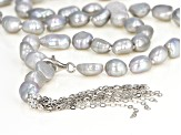 7-8mm Silver Cultured Freshwater Pearl Rhodium Over Sterling Silver Tassel Drop 24 inch Necklace