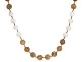 9mm White Cultured Freshwater Pearl with Jasper Simulant Bead 55 inch Strand Necklace