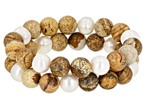 9mm White Cultured Freshwater Pearl with Jasper Simulant Bead Stretch Bracelet Set of Two