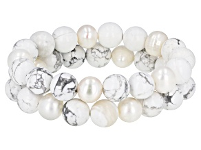 9mm White Cultured Freshwater Pearl with Howlite Simulant Bead Stretch Bracelet Set of Two