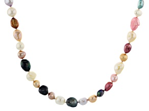 5-9mm White and Multi-Color Cultured Freshwater Pearl Endless Strand 62 inch Necklace