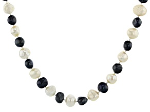 8-9mm White and Enhanced Black Cultured Freshwater Pearl Endless Strand 62 inch Necklace