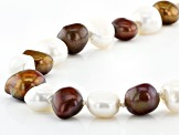 8-9mm White and Enhanced Brown Cultured Freshwater Pearl Endless Strand 62 inch Necklace