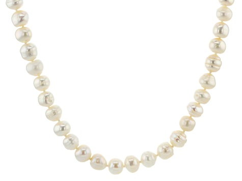 9-10mm White Cultured Freshwater Pearl Endless Strand 80 inch Necklace