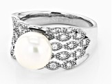 9-10mm White Cultured Freshwater Pearl With  Cubic Zirconia Rhodium Over Sterling Silver Ring