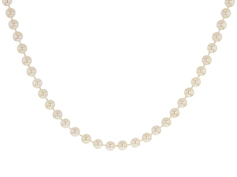 6-6.5mm White Cultured Japanese Akoya Pearl Rhodium over Sterling Silver 18 inch Strand Necklace