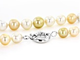 12-14mm Gold, White, Chocolate Cultured South Sea Pearl Rhodium over Sterling silver 18 inch strand