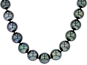 11-12mm Silver Cultured Tahitian Pearl Rhodium Over Sterling Silver 18 inch Strand Necklace