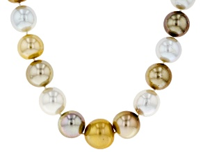13-16mm Gold, White, & Chocolate Cultured South Sea Pearl Rhodium over Silver 18 inch Strand