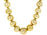 13-15mm Golden Cultured South Sea Pearl Rhodium Over Sterling Silver 18 inch Strand Necklace