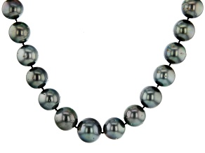 15-17mm Black Cultured Tahitian Pearl Rhodium Over Sterling Silver 18 inch Strand Necklace
