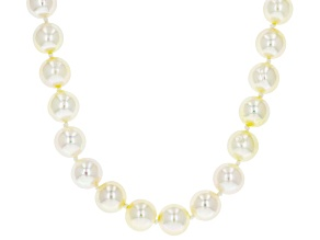 8.5-9mm White Cultured Japanese Akoya Pearl 14k Yellow Gold 18 inch Strand Necklace