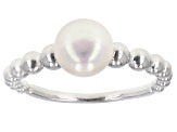 7mm Multi-Color Cultured Freshwater Pearl Rhodium Over Sterling Silver Ring Set of 3