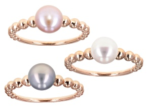 7mm Multi-Color Cultured Freshwater Pearl 18k Rose Gold Over Sterling Silver Ring Set of 3