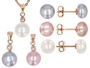 7-8mm Cultured Freshwater Pearl And .09ctw Zircon 18k Rose Gold Over Silver Pendant & Earrings Set